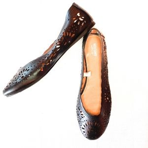 Mossimo Black Laser Cut Ballet Flats 8.5 Like New